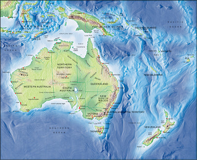 Photoshop JPEG Relief map and Illustrator EPS vector map Australasia
