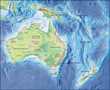 Photoshop JPEG Relief map and Illustrator EPS vector map collection Australasia continent 4 maps