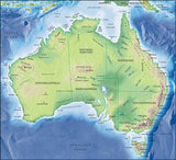 Photoshop JPEG Relief map and Illustrator EPS vector map Australia