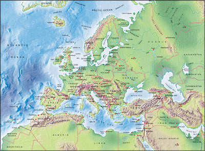 Photoshop JPEG Relief map and Illustrator EPS vector map Europe