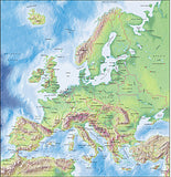 Photoshop JPEG Relief map and Illustrator EPS vector map European EU Countries