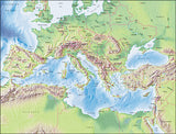 Photoshop JPEG Relief map and Illustrator EPS vector map Mediterranean Sea