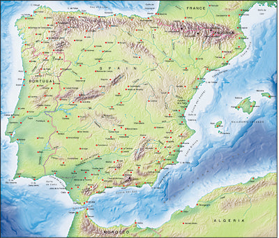 Photoshop JPEG Relief map and Illustrator EPS vector map Iberia, Spain, Portugal