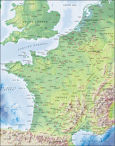 Photoshop JPEG Relief map and Illustrator EPS vector map France, Benelux, Switzerland