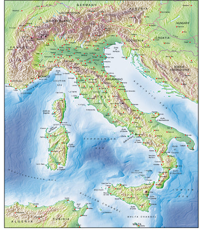 Photoshop JPEG Relief map and Illustrator EPS vector map Italy