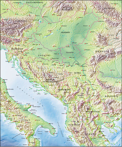 Photoshop JPEG Relief map and Illustrator EPS vector map Yugoslavia, Hungary, Albania