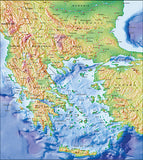 Photoshop JPEG Relief map and Illustrator EPS vector map Balkans, Greek Archipelago