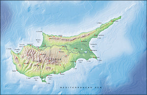 Photoshop JPEG Relief map and Illustrator EPS vector map Cyprus