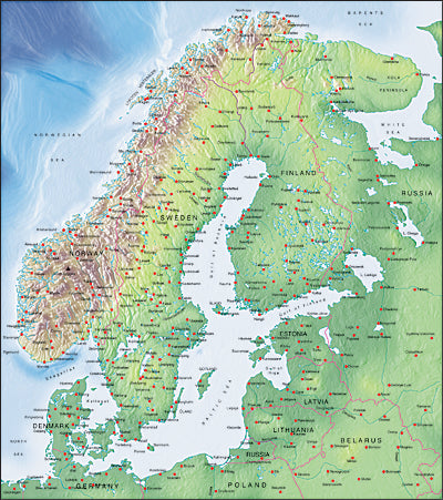 Photoshop JPEG Relief map and Illustrator EPS vector map Scandinavia