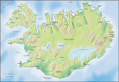 Photoshop JPEG Relief map and Illustrator EPS vector map Iceland