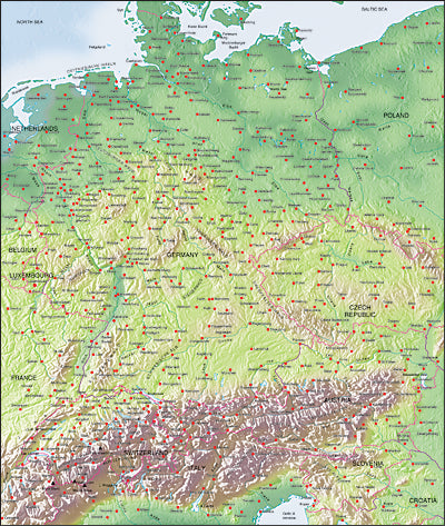 Photoshop JPEG Relief map and Illustrator EPS vector map Germany, Switzerland, Austria