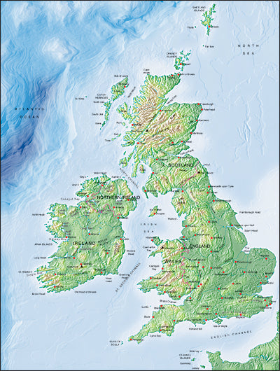 Photoshop JPEG Relief map and Illustrator EPS vector map British Isles