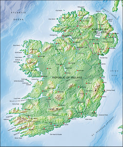 Photoshop JPEG Relief map and Illustrator EPS vector map Ireland
