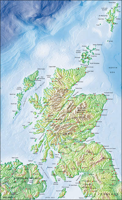 Photoshop JPEG Relief map and Illustrator EPS vector map Scotland, Northern Ireland, North England