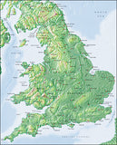 Photoshop JPEG Relief map and Illustrator EPS vector map England