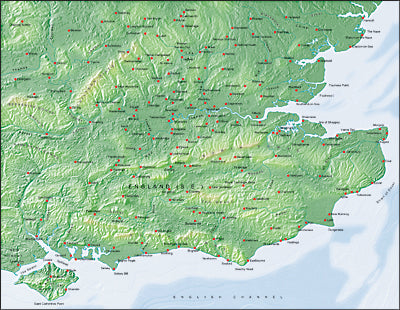 Photoshop JPEG Relief map and Illustrator EPS vector map British Isles - South East England