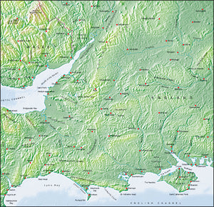 Photoshop JPEG Relief map and Illustrator EPS vector map British Isles - South England