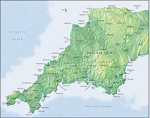 Photoshop JPEG Relief map and Illustrator EPS vector map British Isles - South West England