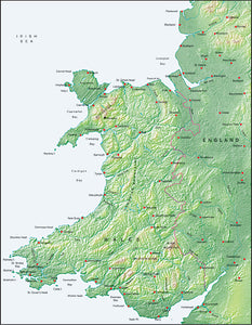 Photoshop JPEG Relief map and Illustrator EPS vector map British Isles - Wales
