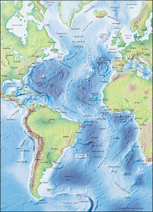 Photoshop JPEG Relief map and Illustrator EPS vector map Atlantic Ocean