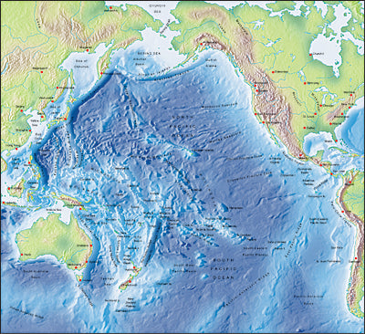 Photoshop JPEG Relief map and Illustrator EPS vector map Pacific Ocean