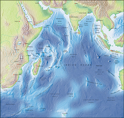 Photoshop JPEG Relief map and Illustrator EPS vector map Indian Ocean