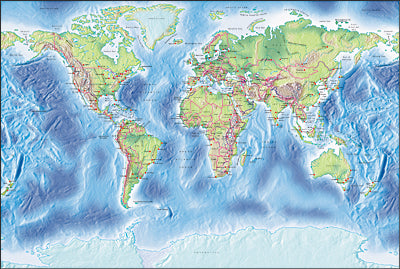 Photoshop JPEG Relief map and Illustrator EPS vector map World - Gall normal projection
