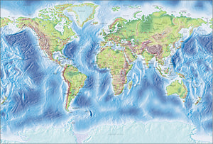 Photoshop JPEG Relief map and Illustrator EPS vector map World - Gall large projection