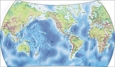 Photoshop JPEG Relief map and Illustrator EPS vector map World - Van de Grinten projection