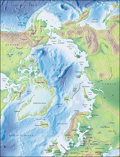 Photoshop JPEG Relief map and Illustrator EPS vector map Arctic Ocean centered at 0 degree
