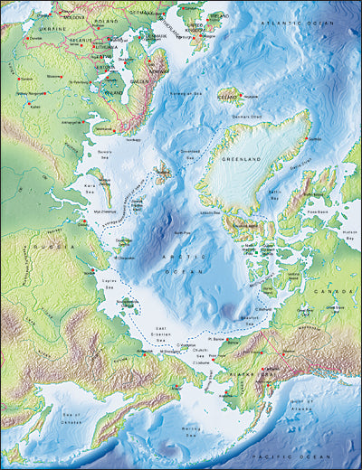 Photoshop JPEG Relief map and Illustrator EPS vector map Arctic Ocean centered on 180¬degrees