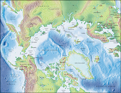 Photoshop JPEG Relief map and Illustrator EPS vector map Arctic Ocean centered on 90-West