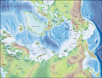 Photoshop JPEG Relief map and Illustrator EPS vector map Arctic Ocean centered on 90-East
