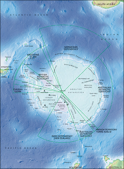 Photoshop JPEG Relief map and Illustrator EPS vector map Antarctica centered on 0 degree