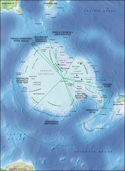 Photoshop JPEG Relief map and Illustrator EPS vector map Antarctica centered on 180¬degrees