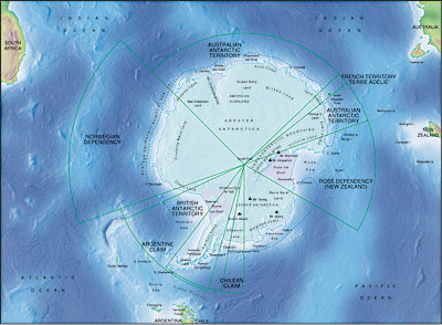 Photoshop JPEG Relief map and Illustrator EPS vector map Antarctica centerd on 90 E