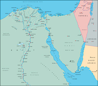 Illustrator EPS map of Egypt, Suez Canal, Nile Delta, Sinai