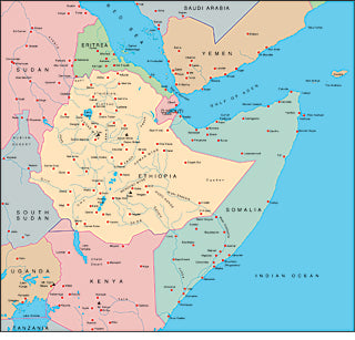 Illustrator EPS map of Ethiopia, Somalia, Yemen