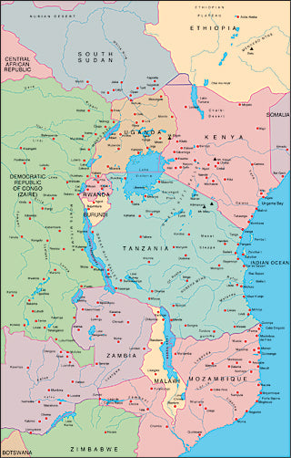 Illustrator EPS map of East Africa, Kenya