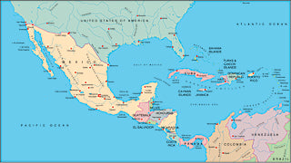 Illustrator EPS map of Central America