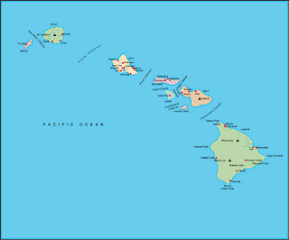 Illustrator EPS map of Hawaiian Islands