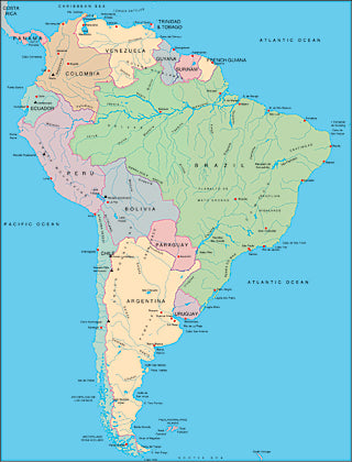 Illustrator EPS map of South America continent