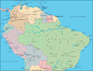 Illustrator EPS map of South America, Northern half