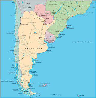 Illustrator EPS map of South American, Southern half