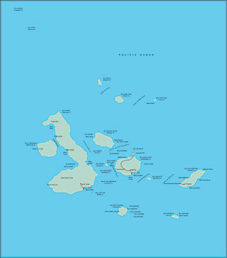 Illustrator EPS map of Galapagos Islands