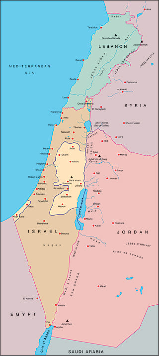Illustrator EPS map of Israel, Lebanon, West Bank, Gaza Strip