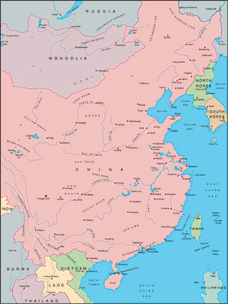 Illustrator EPS map of China, Korea