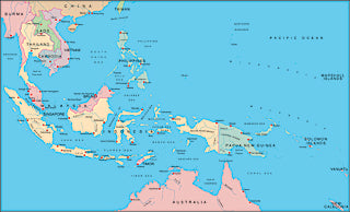 Illustrator EPS map of East Indies, Indonesia