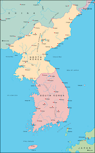 Illustrator EPS map of Korean Peninsular