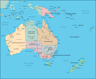 Illustrator EPS collection Australasia continent maps